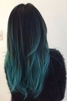 Black and Teal Hair hair ombre hairstyles ombre hair colored hair hair color hair ideas hair trends 2 toned teal hair - - ombre Haar Teal Hair Color, Hair Color Highlights, Hair Color Balayage, Black Balayage, Color Black, Teal Ombre Hair, Purple Hair, Black Hair With Blue Highlights, Dark Teal Hair