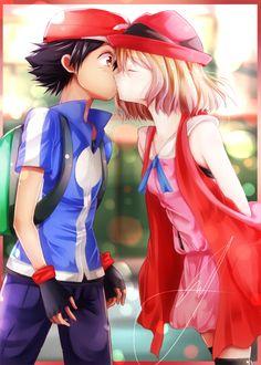 Ash and Serena's kiss by Ashujou