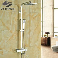 Check Price Newly 8 Inch Thermostatic Shower Set Faucet w/ Hand Sprayer Chrome Plate Rainfall Shower Tub Mixer Faucet Bathroom Inspo, Bathroom Inspiration, Shower Set, Rain Shower, Rainfall Shower, Font Setting, Bathroom Fixtures, Shower Heads, Chrome Plating