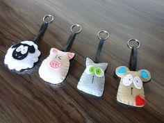 Conjunto de chaveiro de feltro - Ovelha - porco - gato - rato - animais