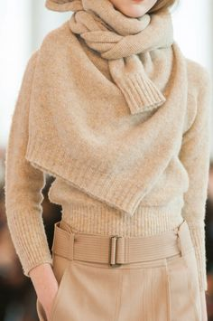 Minimalism Pro Tip: Buy two of the same sweater and use one as a scarf. #neutrals #texture //  Christophe Lemaire Fall 2014 RTW