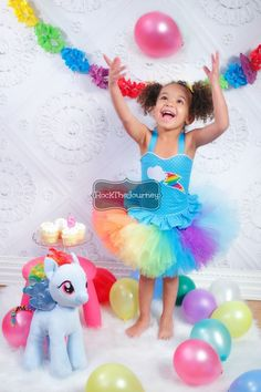 Rainbow Dash My Little Pony Rainbow Cloud Birthday Party Tutu Outfit - Rock The Journey