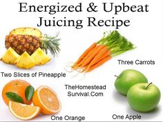 * Two peeled slices of Pineapple * One peeled Orange ( remove the seeds ) * One Apple (remove seeds and the stem ) * Three Carrots Peel, de-seed, chop and run through juicer and enjoy. Healthy Juice Recipes, Healthy Juices, Healthy Smoothies, Healthy Drinks, Healthy Snacks, Healthy Eating, Blender Recipes, Green Smoothies, Juice Smoothie