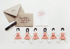 DIY paper doll bridesmaids cards