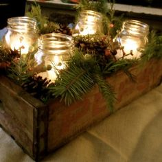 Christmas Rustic Centerpiece...need to do this by my fireplace.....