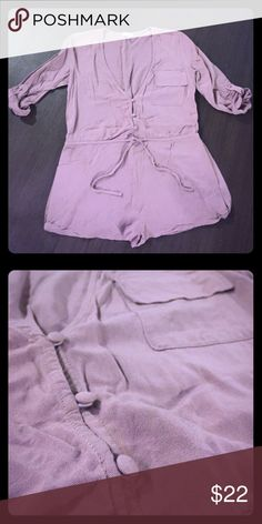 Button-up romper Tobi romper in dusty rose/lavender color with 3/4 length sleeves. Never worn! Tobi Dresses Mini