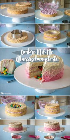 Ombre Torte mit M&M Füllung Smarties innen drin Kreativfieber Geburtstagstorte Hochzeitstorte selber backen