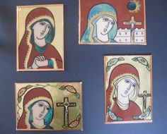Take the glass out of a picture frame, use a Sharpie and a DecoArt gold pen on the front, egg tempera on the back ... a simple pattern and step-by-step instructions created by iconographer Randi Maria Sider-Rose.
