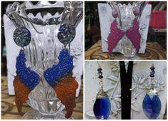 Angel wings and sterling silver blue faceted earrings #Paint #wings #crystal #blue #silver #blue #pink #earrings #OOAK