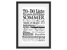 "Typodruck ""To-Do-Liste Sommer"" // artprint, typography ""sumer to-do-list"" by INTERLUXE via DaWanda.com"