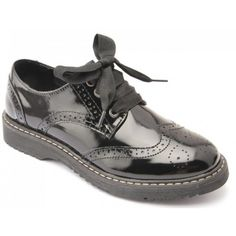 Angry Angels Girls Patent Brogue Shoe Black School Shoes ef1910786