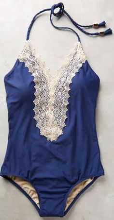 beautiful blue one-piece with lace trim