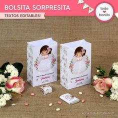 Buscar - Todo Bonito First Communion, Place Cards, Place Card Holders, Ideas, First Holy Communion, Decorated Bottles, Bag, Rustic Style, Texts