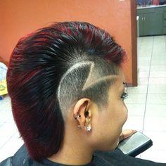 red mohawk with black hair tattoos Black Mohawk Hairstyles, Hairstyles Haircuts, Long Hair Shaved Sides, Undercut Mohawk, Shaved Hair Designs, Hair Tattoos, Crazy Hair, Wet Hair, Hair Art