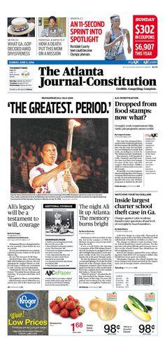 Muhammad Ali remembered - The Atlanta Journal-Constitution Front Page, Sunday June 5, 2016 | Newseum  #Ali #MuhammadAli #TheGreatest #GOAT #Boxing
