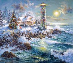 Nicky Boehme, artist ~ lighthouse adorned with Christmas lights ~ Christmas tree ~ pounding surf