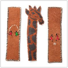 @WorldCrafts African Bookmarks-Set of 3 different African bark-cloth bookmarks. One bookmark is shaped like a giraffe, another features soccer players, and the third bookmark features people jumping rope. Each bookmark is handmade in East Africa, part of the proceeds are donated to support orphans and children at risk in Uganda. Each bookmark measures 7 inches tall. #fairtrade