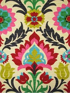 Waverly Santa Maria Desert Flower Home Decor Fabric - Multi Color Damask Drapery Fabric 676122 - Fab Tissu Ikat, Ikat Fabric, Drapery Fabric, Drapes Curtains, Wall Fabric, Custom Curtains, Pillow Fabric, Chair Fabric, Arts And Crafts