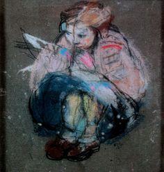 """Joan Eardley, Little Girl and Comic, from a series on Glasgow street children Figure Painting, Figure Drawing, Glasgow School Of Art, Art Station, Illustrations, Pastel Art, Portrait Art, Contemporary Paintings, Figurative Art"