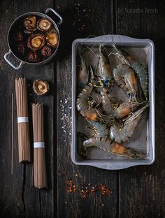 Uncooked Soba Noodles and Shrimps by Natasha Breen on 500px