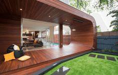 Sleek wooden patio with modern design