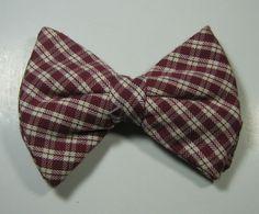 ULTRA RARE Rich Red Burgundy Cream Plaid Checks Vintage Large Bow Tie RARE #unbranded #BowTie