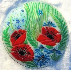 "Repina Elena. Glass dish for the holiday table, ""Summer recollections"" fusing"