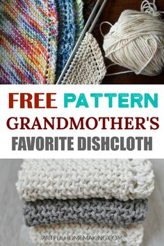 Grandmother's Favorite Knitted Dishcloth pattern Grandmother's Favorite Dishcloth Free Knitting Pattern is the perfect pattern for beginners! They're so easy and fun to make, and they make great gifts! Knitted Dishcloth Patterns Free, Knitted Washcloths, Knitting Patterns Free, Knit Patterns, Free Pattern, Tatting Patterns, Knitted Blankets, Doll Patterns, Knitting Designs