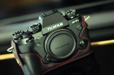 Black Cow leather case for Fujifilm X-T1/ XT1 xt1 x-t1 include leather half case