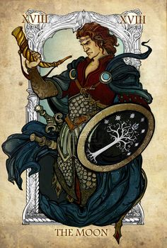 Tarot: The Moon by Sceith Ailm. Nice to see the moon depicted by a man for a change