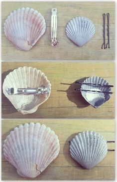 Hot glue bobby pins and hair clips to the back of shells for easy DIY mermaid ha. Hot glue bobby pins and hair clips to the back of shells for easy DIY mermaid hair accessories! Seashell Jewelry, Seashell Crafts, Beach Crafts, Diy And Crafts, Arts And Crafts, Seashell Projects, Crafts Cheap, Simple Crafts, Diys