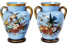19th-C. Opaline Painted Bird Vases