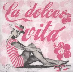 Decoupage paper napkins ,  La Dolce Vita/ Pink , Summer, size 33x33 cm (no.46) by ArsaiSupplies on Etsy