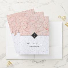 Monogram Marble Elegant White Gold File Folders Zazzle