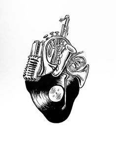 """""""Music: Heart Series No.XII"""" ... Twelfth in January's series of drawings for my #12in12 challenge. Inked this with the Winsor and Newton series 7 Kolinsky Sable watercolor brush round #1 and Indian ink.  Absolutely loved it.  The detail and the precision of this brush was amazing.  Already prepping for next month's drawing series, may take a day off or two to breathe and knock out a few other projects. Thanks for keeping up with me!"""