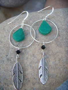 Turquoise Silver Feather Earrings - Sterling Silver Hoop Earrings - Dangle Earrings - Native American