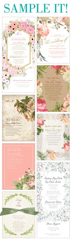 Floral wedding invitations. Want to make sure you love it? Sample it first - for free!