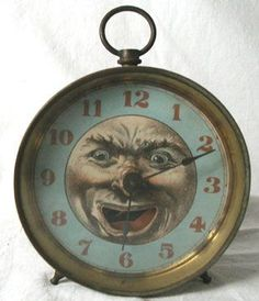 Antique Man in the Moon Alarm Clock, Dated : 3 / 2 Old Clocks, Antique Clocks, Vintage Clocks, Alarm Clocks, Over The Moon, Stars And Moon, Tick Tock Clock, Paper Moon, Clock Decor