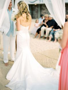 Wedding Gown by Amy Kuschel - On SMP: http://www.StyleMePretty.com/destination-weddings/2014/02/28/puerto-vallarta-wedding-at-la-mansion/ Photography: Jillian Mitchell