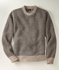 $89 A replica of our Bean's Blue Rock Sweater (circa 1980), this classic pullover is knit from genuine Shetland wool yarn for superior warmth and durability. Birdseye pattern is a jacquard knit with ribbing at the neck, hem and cuffs. Imported.