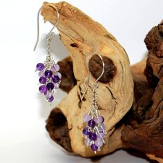 Sterling silver earrings with Amethyst Clusters by DesignsbyCaz, £19.00