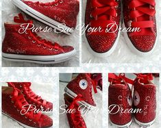 Custom Crystal Rhinestone Ruby Red High Top Converse - Swarovski Crystal - Red Wedding Shoes - Red B