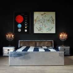 By stocktonsmcr - *NEW IN* Timothy Oulton Aviator Tomcat bed.  Inspired by the F14 Grumman fighter jet. The sleek, aerodynamic lines of the bed are reminiscent of the aircraft.  There is also the added feature of hidden storage built into the headboard.  #timothyoulton #bedroom #furniture