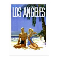 #Los Angeles beach couplevintage travel postcard - #travel #trip #journey #tour #voyage #vacationtrip #vaction #traveling #travelling #gifts #giftideas #idea