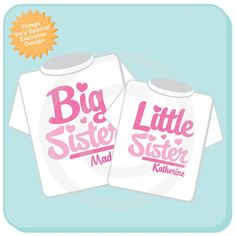 Sibling Shirt Big Sister Little Sister Shirt set of 2 Personalized Tshirt with Pink and Purple Letters 12082011d