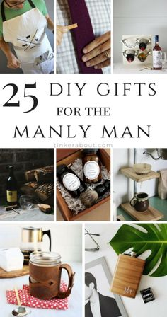 Finding great gifts for a man can be a huge pain. This post will give you amazing gift ideas for men you can easily make yourself. They make perfect gifts for Father's Day, Birthdays or any other occasion. Find the ideas at tinkerabout.com.