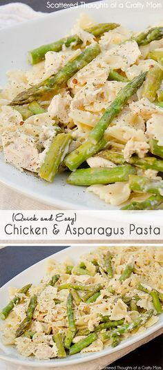 This quick and easy Creamy Chicken and Asparagus Pasta recipe is perfect for those nights you just don't have much time to spend on dinner!