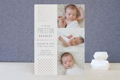 Cascade Foil-Pressed Birth Announcement Cards by J... | Minted