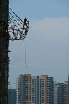 dismantling bamboo scaffold Bao'an Shenzhen China by dcmaster, via Flickr