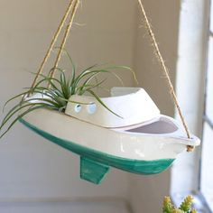 Dot & Bo Ships Ahoy! Boat Planter ($140) ❤ liked on Polyvore featuring home, home decor, succulent planter, ceramic planters y window planter